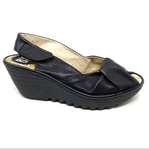 Fly London Yakin black leather wedge sandals